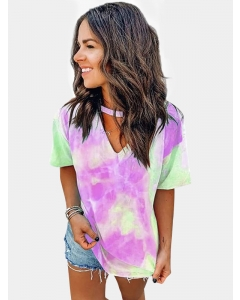 Dresswel Women Cutout Choker V Neck Tie Dye Multicolor T-shirts Tops