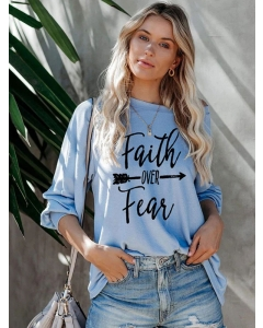 Dresswel Women Faith over Fear Arrow Print O Neck Letter Sweatshirt Top