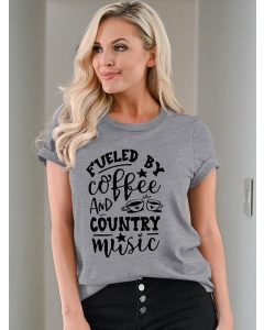 Dresswel Women Fueled by Coffee and Country Music Graphic T-Shirts Tops