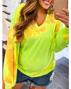 Dresswel Women Hooded Tie Dye Gradient V-neck Long Sleeve Sweatshirts