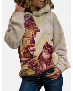 Dresswel Women Kitten Print Hooded Sweatshirt Plus Size Hoodies Tops