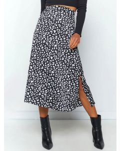 Dresswel Women Leopard Printed High Waist Skirt Sexy Comfy Split Midi Skirt