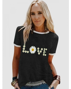Dresswel Women LOVE Letter Flower Graphic Printed Casual Relaxed T-Shirts Tops