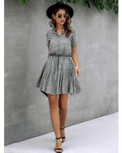 Dresswel Women Printed Lapel Neck Dress Buttons Slim Mini Dress