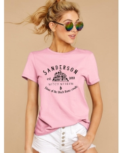 Dresswel Women Sanderson Witch Museum Letter Graphic Casual T-Shirts Tops