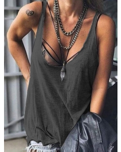 Dresswel Women Sexy Spaghetti Strap Solid Color Sleeveless Cami Tops