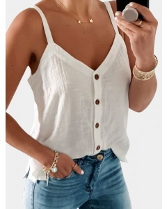 Dresswel Women Sexy V-neck Blouse Buttons Solid Color Sleeveless Cami Tops