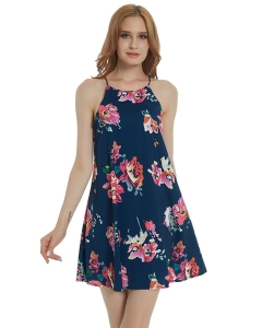 Dresswel Women Sleeveless Cut Out Back Floral Print Chiffon A-line Mini Dress