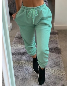 Dresswel Women Solid Color Beam Foot Lacing Sporty Pants Loose Fit High Waist Pants