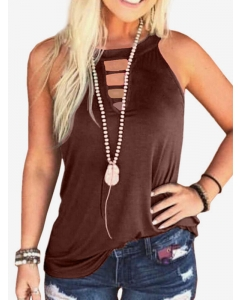 Dresswel Women Solid Color Crew Neck Sexy Vest Slim Fit Casual Fashion Tank Tops