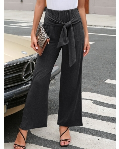 Dresswel Women Straight-legged Trousers Knotted Elastic Solid Color Wide-leg Pants