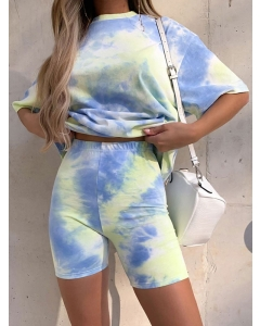 Dresswel Women Tie-dye Gradient Loose Casual T-shirt Skinny Shorts Two-piece Suit Fashion Pajama