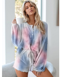 Dresswel Women Tie-dye Homewear Long-sleeved Tops and Shorts Two-piece Pajamas