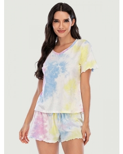 Dresswel Women Tie-dye Print Gradient Short-sleeved Tee Shorts Pajamas Set