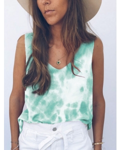 Dresswel Women Tie-dye Print V Neck Vest Camiole Stylish Sleeveless Tank Tops