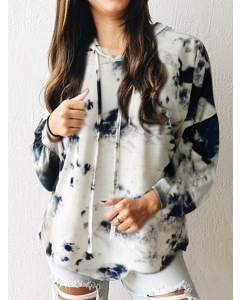 Dresswel Women Tie-dye Printing Hooded Drawstring Loose Sweatshirt Hoodies Tops