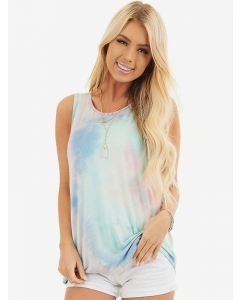 Dresswel Women Tie-Dyed Gradient Crew Neck Sleeveless Shirt Casual Loose Fit Tank Tops
