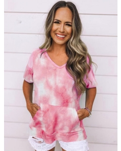 Dresswel Women Tie-Dyed Printed Pocket T-Shirt Tops