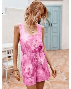 Dresswel Women Tie-Dyed Printed Tank Tops Shorts Jumpsuit Rompers