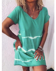 Dresswel Women Tie-Dyed Printed V Neck Short Sleeve Casual Dress Relaxed Mini Dress