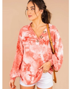 Dresswel Women Tie Dye Print V Neck Deco Buttons Long Sleeve Sweatshirt  Top