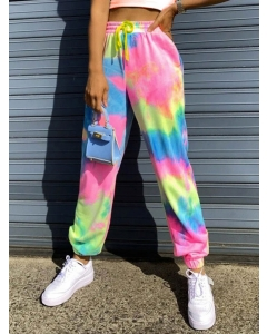 Dresswel Women Tie Dye Printed High Waist Elastic Fitness Pants Bottoms