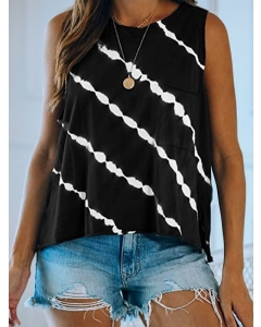 Dresswel Women Tie Dyeing Printed Sleeveless Pocket Front Relaxed Tank Tops