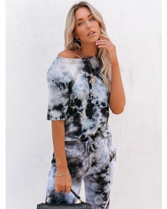 Dresswel Women Two-piece Tie-dye Print Short-sleeved Tshirt Pants Homewear Suit