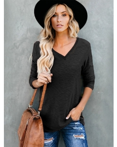 Dresswel Women  V-neck Button Long Sleeve Solid Color Plus Size Tshirts Top