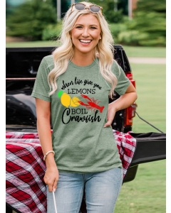 Dresswel Women When Life Gives You Lemons Letter Crawfish Print T-Shirts Tops