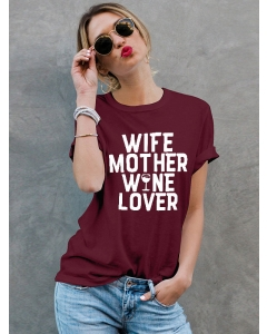 Dresswel Women Wife Mother Wine Lover Funny Casual Letter Printed T-Shirts Tops