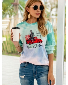Dresswel Women This Is My Merry Christmas Letter Tie Dye Printed Sweatshirts Tops