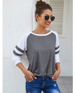 Dresswel Women Stripe Splice Long Sleeve Crew Neck Colorblock Casual Basic shirt Blouse Tops
