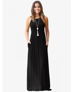 Dresswel Women Pure Color Round Neck Sleeveless With Pocket Long Dress