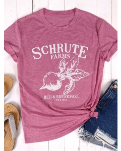 Dresswel Women Schrute Farms Letter Graphic Print T-Shirts Tops