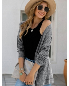 Dresswel Women Solid Color Open Front Long Sleeve Fashion Loose Cardigan Tops