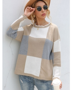 Dresswel Women Checked Color Block Crew Neck Long Sleeve Casual Knitted Sweater Tops
