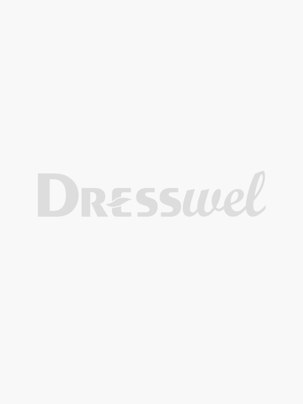 Dresswel Women Solid Color Cutout Stitching 3/4 Sleeve Blouse Tops