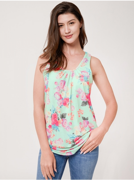 Dresswel Women Sleeveless Floral Print Zipper Back Tank Tops