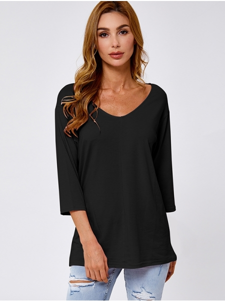 Dresswel Women Round Neck 3/4 Sleeve Solid Color Fashion Casual Tunic