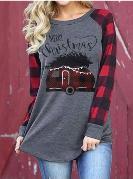 Dresswel Women Merry Christmas Letter Graphic Plaid Spliced Casual Christmas T-shirt Tops