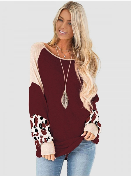 Dresswel Women Leopard Print Patchwork Pullover Colorblock Long Sleeve Shirts Tops