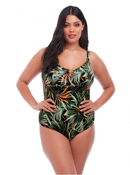 Dresswel Plus Size Leaf Print Monokini One Piece Beach Swimsuit