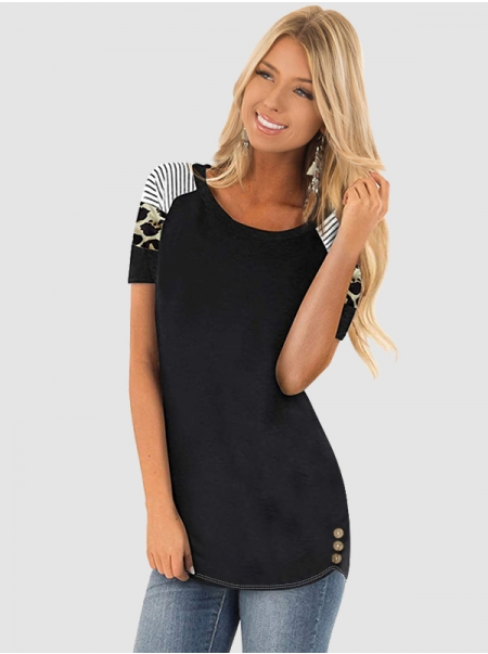 Women's Round Neck Striped Leopard Button Short-sleeved Casual T-shirt Top