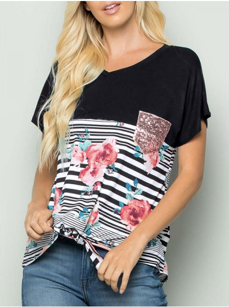 Dresswel Women Stripes Floral Print Top with Sequins Pocket Knotted Hem T-shirts Tops