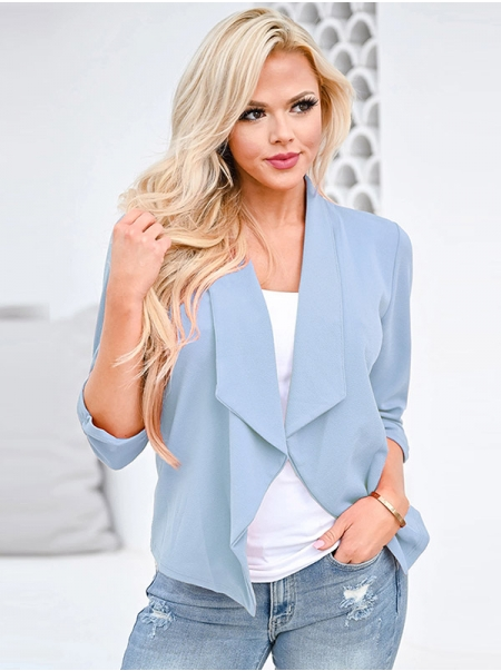 Dresswel Women Thin Suit Jacket Top Irregular Cardigan Solid Color Fashion Suit Coat