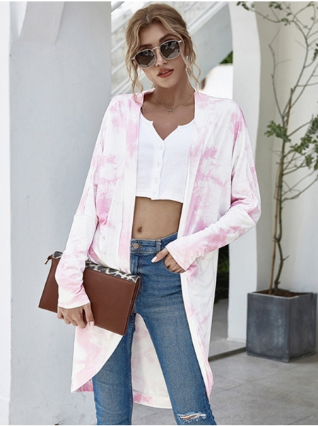 Dresswel Women Tie Dyed Printed Open Front Long Sleeve Cover Up Cardigan Tops