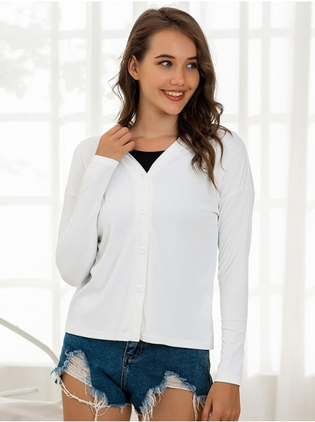 Dresswel Women Knit Single-breasted Long Sleeves Ribbed White Cardigan Tops