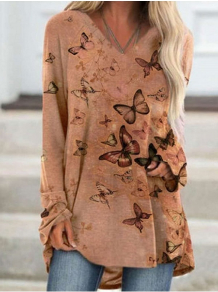 Dresswel Women Butterfly Print V Neck Long Sleeve Loose Fit Tunic Tops