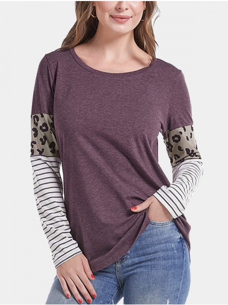 Dresswel Women Leopard Stripes Colorblock Long Sleeves Round Neck Blouse Tops